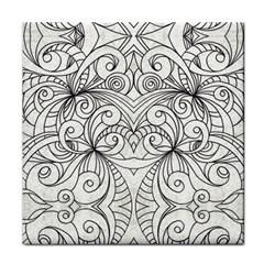 Drawing Floral Doodle 1 Ceramic Tile by MedusArt