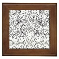 Drawing Floral Doodle 1 Framed Ceramic Tile by MedusArt