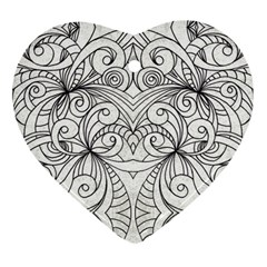 Drawing Floral Doodle 1 Heart Ornament by MedusArt