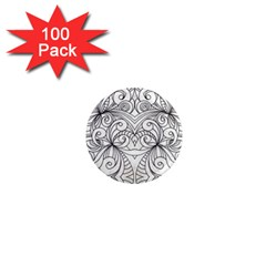 Drawing Floral Doodle 1 1  Mini Button Magnet (100 Pack) by MedusArt