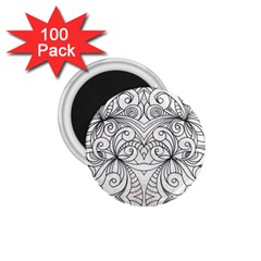 Drawing Floral Doodle 1 1 75  Button Magnet (100 Pack) by MedusArt