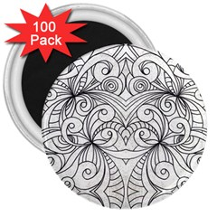 Drawing Floral Doodle 1 3  Button Magnet (100 Pack) by MedusArt