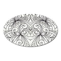Drawing Floral Doodle 1 Magnet (oval) by MedusArt