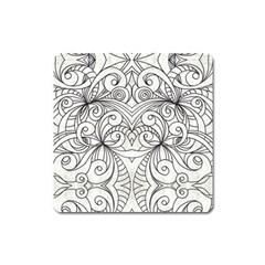 Drawing Floral Doodle 1 Magnet (square) by MedusArt