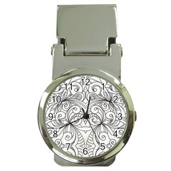 Drawing Floral Doodle 1 Money Clip With Watch by MedusArt