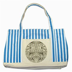 Drawing Floral Doodle 1 Blue Striped Tote Bag by MedusArt
