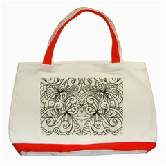 Drawing Floral Doodle 1 Classic Tote Bag (red) by MedusArt