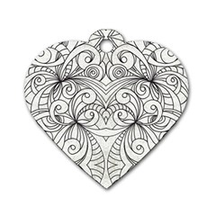 Drawing Floral Doodle 1 Dog Tag Heart (two Sided) by MedusArt