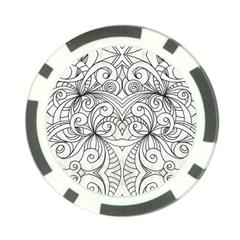 Drawing Floral Doodle 1 Poker Chip (10 Pack) by MedusArt