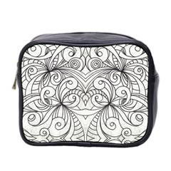 Drawing Floral Doodle 1 Mini Travel Toiletry Bag (two Sides) by MedusArt