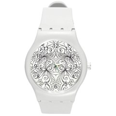 Drawing Floral Doodle 1 Plastic Sport Watch (medium) by MedusArt