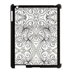 Drawing Floral Doodle 1 Apple Ipad 3/4 Case (black) by MedusArt