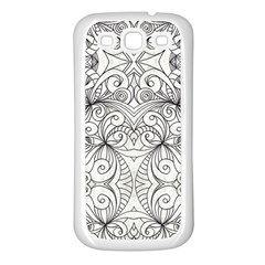 Drawing Floral Doodle 1 Samsung Galaxy S3 Back Case (white) by MedusArt