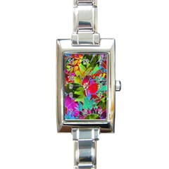 Floral Abstract 1 Rectangular Italian Charm Watch by MedusArt