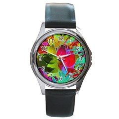 Floral Abstract 1 Round Leather Watch (silver Rim) by MedusArt