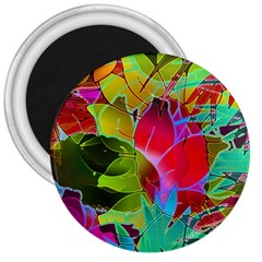Floral Abstract 1 3  Button Magnet by MedusArt