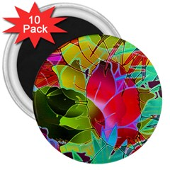 Floral Abstract 1 3  Button Magnet (10 Pack) by MedusArt