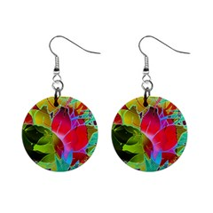 Floral Abstract 1 Mini Button Earrings by MedusArt