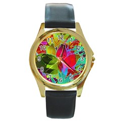Floral Abstract 1 Round Leather Watch (gold Rim)  by MedusArt