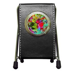 Floral Abstract 1 Stationery Holder Clock by MedusArt