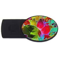 Floral Abstract 1 4gb Usb Flash Drive (oval) by MedusArt