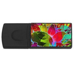 Floral Abstract 1 4gb Usb Flash Drive (rectangle) by MedusArt