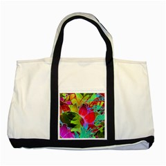 Floral Abstract 1 Two Toned Tote Bag by MedusArt