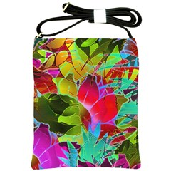 Floral Abstract 1 Shoulder Sling Bag by MedusArt