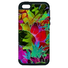 Floral Abstract 1 Apple Iphone 5 Hardshell Case (pc+silicone) by MedusArt