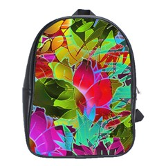 Floral Abstract 1 School Bag (xl) by MedusArt