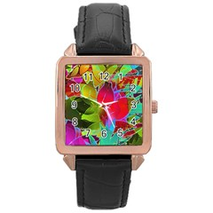 Floral Abstract 1 Rose Gold Leather Watch  by MedusArt