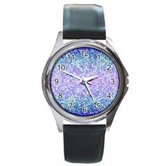 Glitter2 Round Leather Watch (silver Rim) by MedusArt