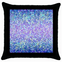 Glitter2 Black Throw Pillow Case by MedusArt