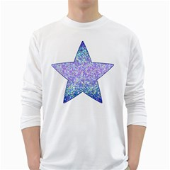 Glitter2 Men s Long Sleeve T Shirt (white) by MedusArt