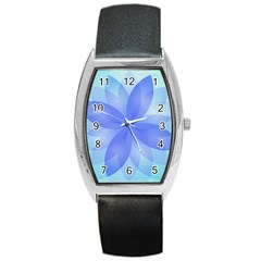 Abstract Lotus Flower 1 Tonneau Leather Watch by MedusArt