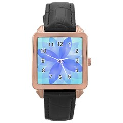 Abstract Lotus Flower 1 Rose Gold Leather Watch  by MedusArt