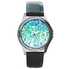 Mosaic Sparkley 1 Round Leather Watch (silver Rim) by MedusArt