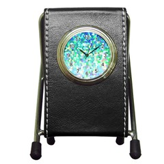 Mosaic Sparkley 1 Stationery Holder Clock by MedusArt