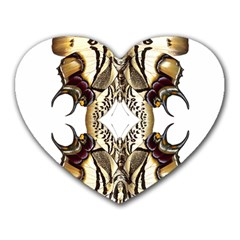 Butterfly Art Ivory&brown Mouse Pad (heart) by BrilliantArtDesigns
