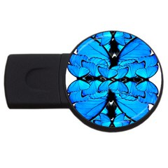 Butterfly Art Blue&cyan 4gb Usb Flash Drive (round) by BrilliantArtDesigns