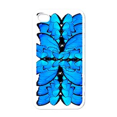 Butterfly Art Blue&cyan Apple Iphone 4 Case (white)
