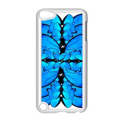 Butterfly Art Blue&cyan Apple Ipod Touch 5 Case (white) by BrilliantArtDesigns