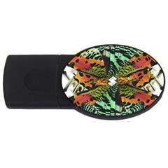 Butterfly Art Green & Orange 1GB USB Flash Drive (Oval)