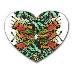 Butterfly Art Green & Orange Mouse Pad (heart) by BrilliantArtDesigns
