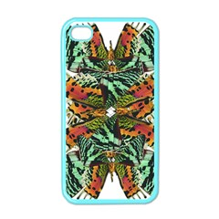 Butterfly Art Green & Orange Apple Iphone 4 Case (color) by BrilliantArtDesigns