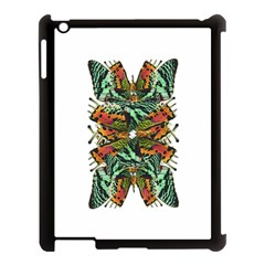 Butterfly Art Green & Orange Apple Ipad 3/4 Case (black) by BrilliantArtDesigns