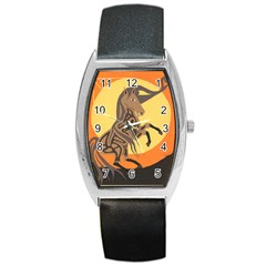 Embracing The Moon Tonneau Leather Watch by twoaboriginalart