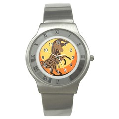 Embracing The Moon Stainless Steel Watch (slim) by twoaboriginalart