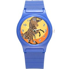 Embracing The Moon Plastic Sport Watch (small) by twoaboriginalart