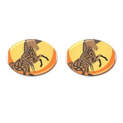 Embracing The Moon Copy Cufflinks (oval) by twoaboriginalart